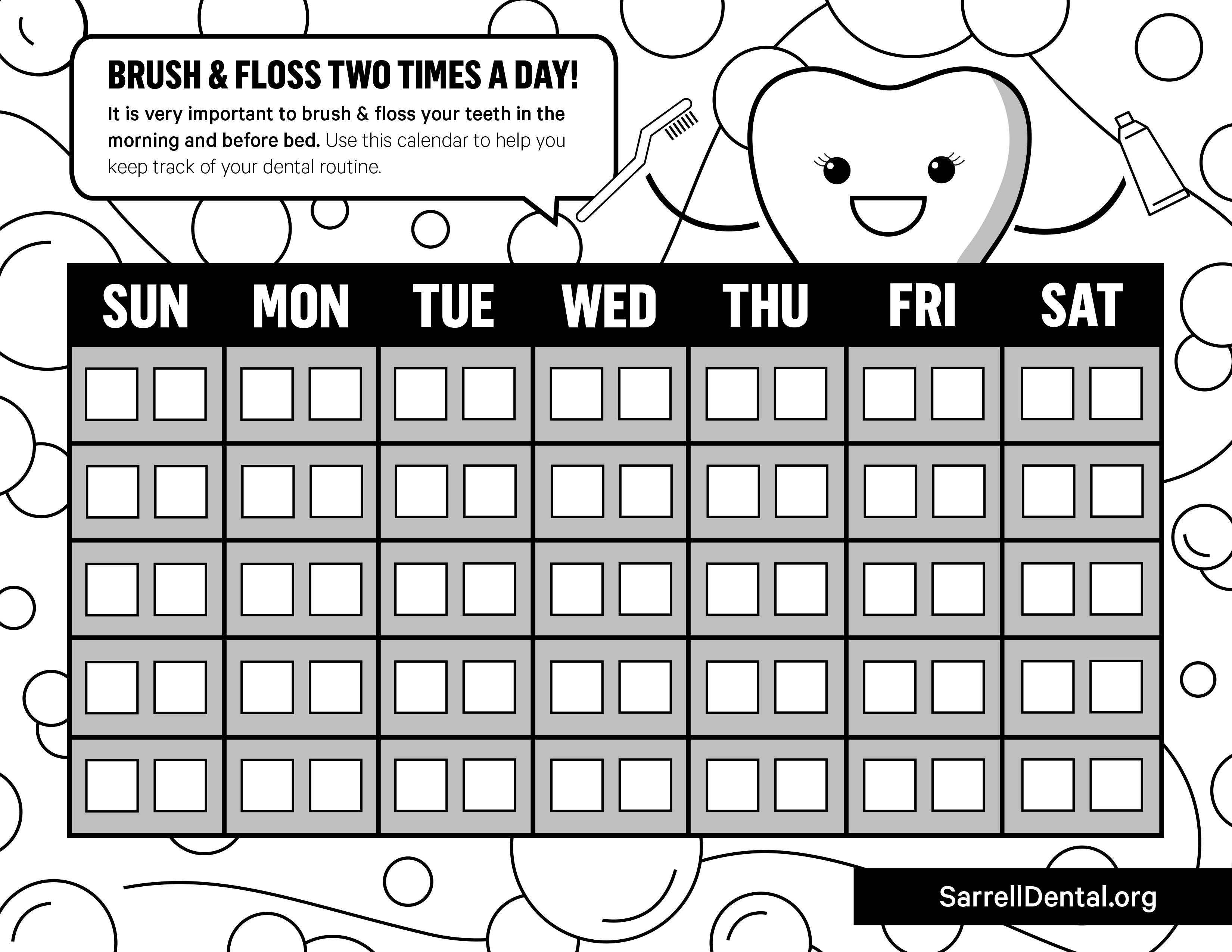Kids' Smile Zone Brushing and Flossing Weekly Checklist