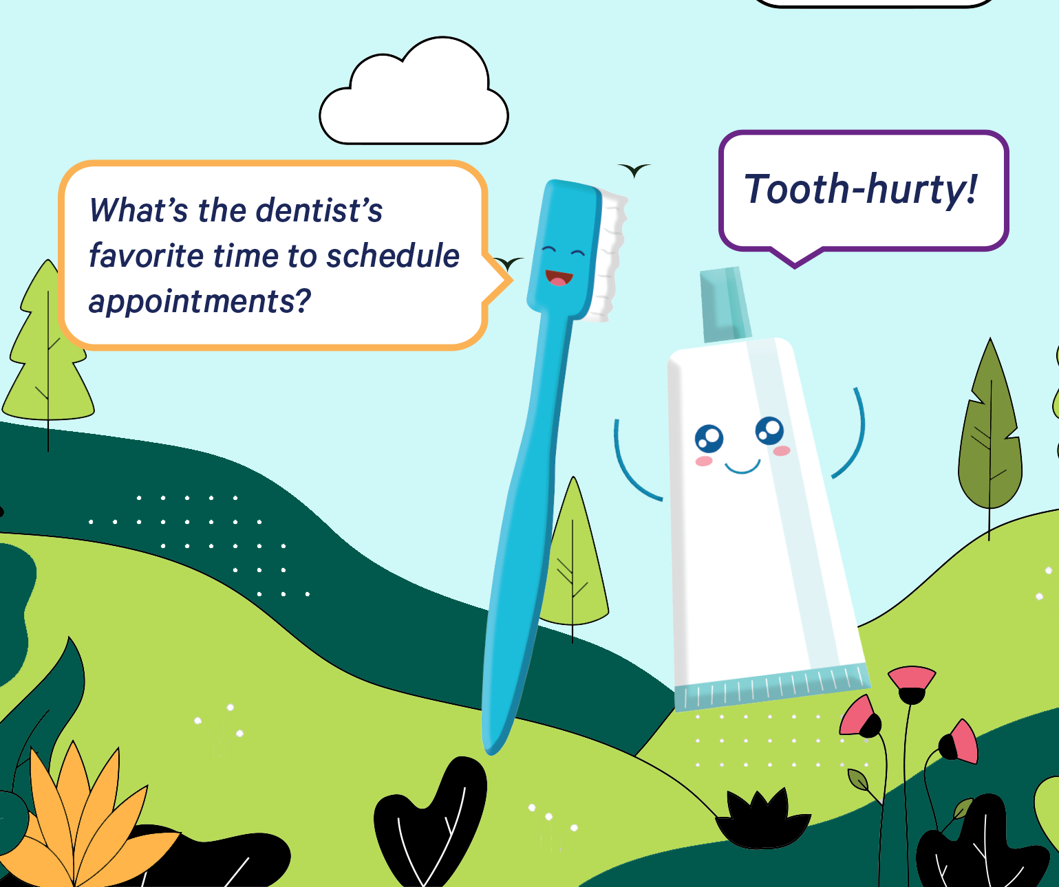 Toothbrush and toothpaste characters